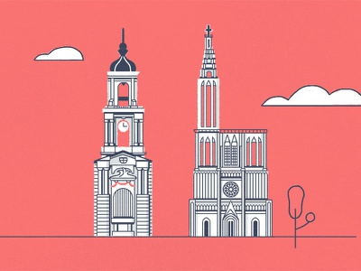 Monuments city hall rennes cathedral strasbourg france monument buildings illustration