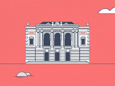 Monuments  opera montpellier france monument buildings illustration