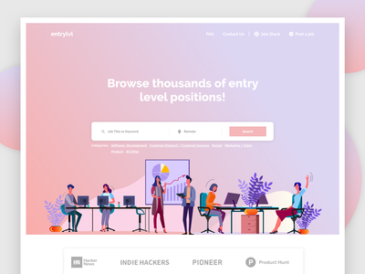Job Aggregator homepage bitcoin material dashboard web design concept material design web minimal landing page