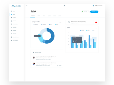 MEMSQL Dashboard Concept infograph concept dashboard memsql