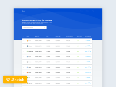 Crypto Ranking Freebie bitcoin blockchain freebie landing page crypto table web material design