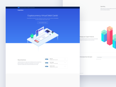 Crypto Landing page concept material interface blue web design homepage crypto bitcoin dashboard web material design landing page minimal