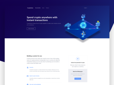 Crypto Landing Page vector bitcoin homepage interface ui illustration material fintech finance blockchaintechnology blockchain cryptocurrency crypto web design web minimal landing page