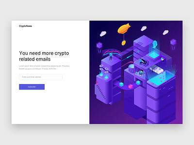Newsletter Signup newsletter signup landing page minimal blog crypto cryptocurrency blockchain illustration design ui ux concept web design branding vector material