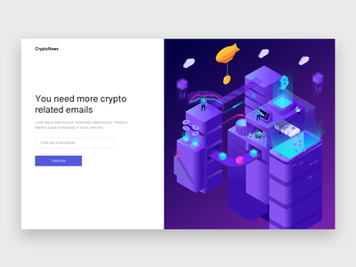 Newsletter Signup newsletter signup landing page minimal blog crypto cryptocurrency blockchain illustration design ui ux concept web design branding vector material