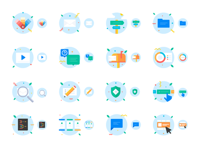 Litmus / Product illustrations video tour editor messaging pencil code folder search color palette interaction colors shield mailbox email icon set illustration design library design system product design product illustration