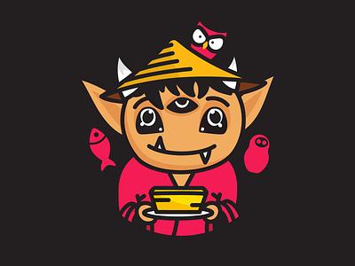 Tofu Oni Domo Logo mascot logo design kasa demon monster icon graphic design illustration japanese culture tofu boy branding daruma doll fish owl character design