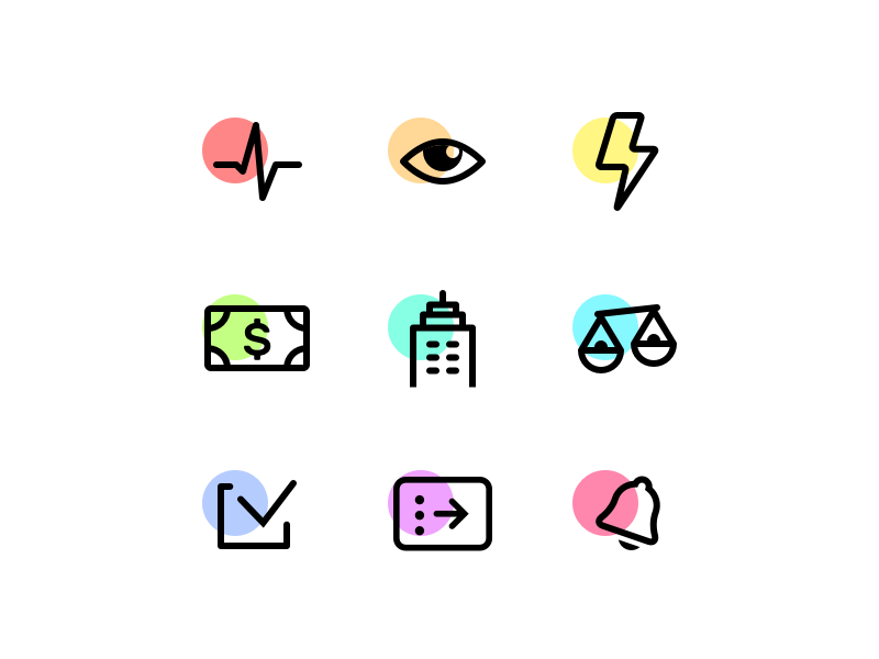 Minimalistic icons scales bell lightning eye bill pulse checkmark building notification outline minimal icons