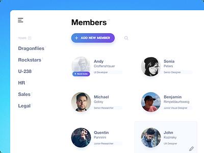 Uelco: Members (HR side) directory dashboard employee hire hr minimal sleek ui ux onboarding clean app team member