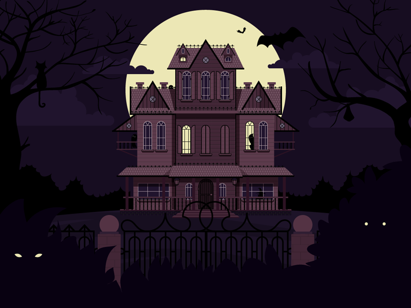 Haunted House illustration mansion halloween ghosts scary spooky night haunted house