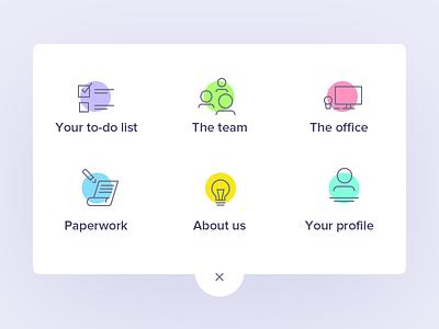 Uelco: menu icons outline menu icons colorful minimal clean app hr new hire team member