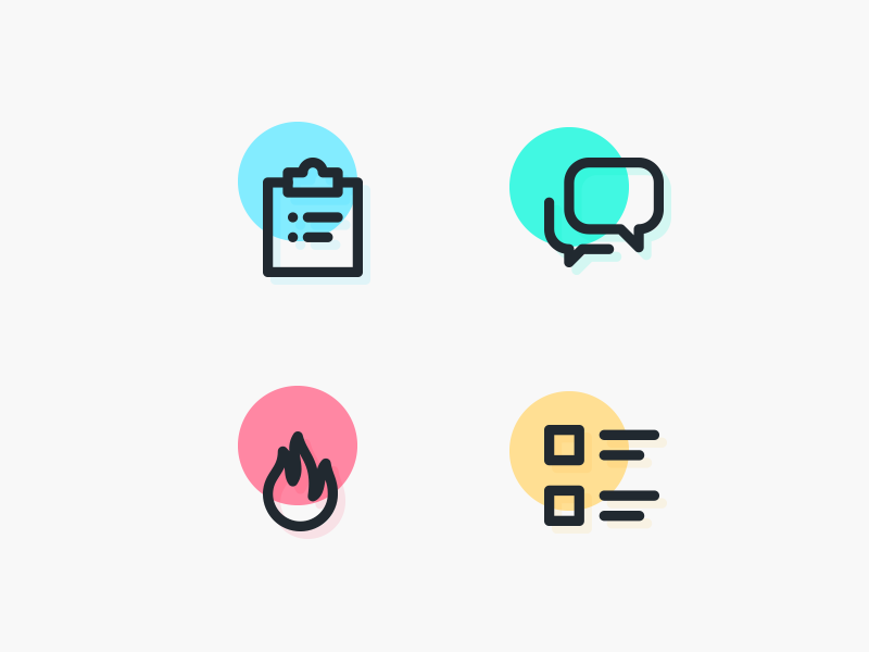 Icons colorful outline list flame hot fire forum discussion chat clipboard icons