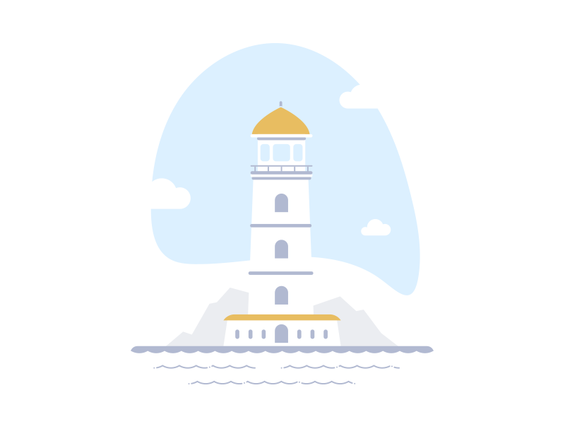 Lighthouse error page mountains clouds waves sea splodge sky lighthouse