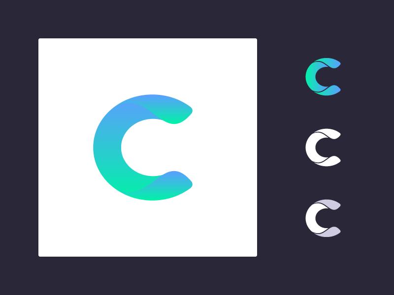 AI product logo concept (C) logomark gradients icon design icon c branding logo concept