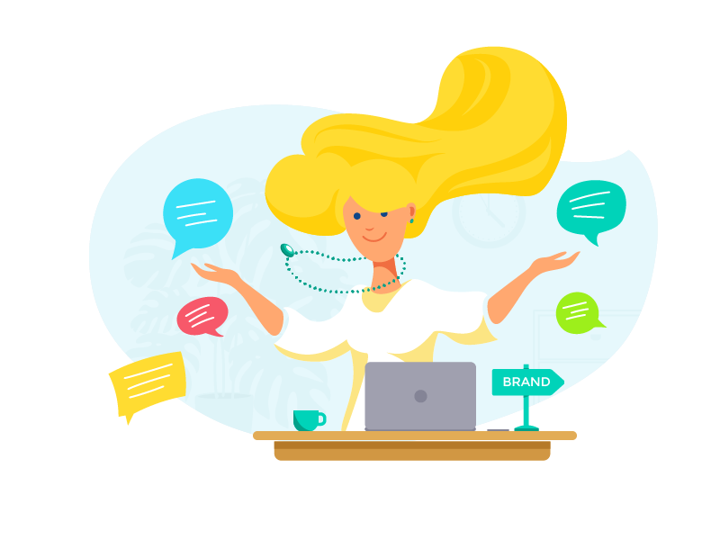 Community Manager content hair persona laptop speech bubble brand plant clock girl community manager