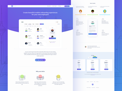 Uelco Landing Page company team members dashboard button hire city onboarding gradient website animation uelco design icons landing page ui illustration app