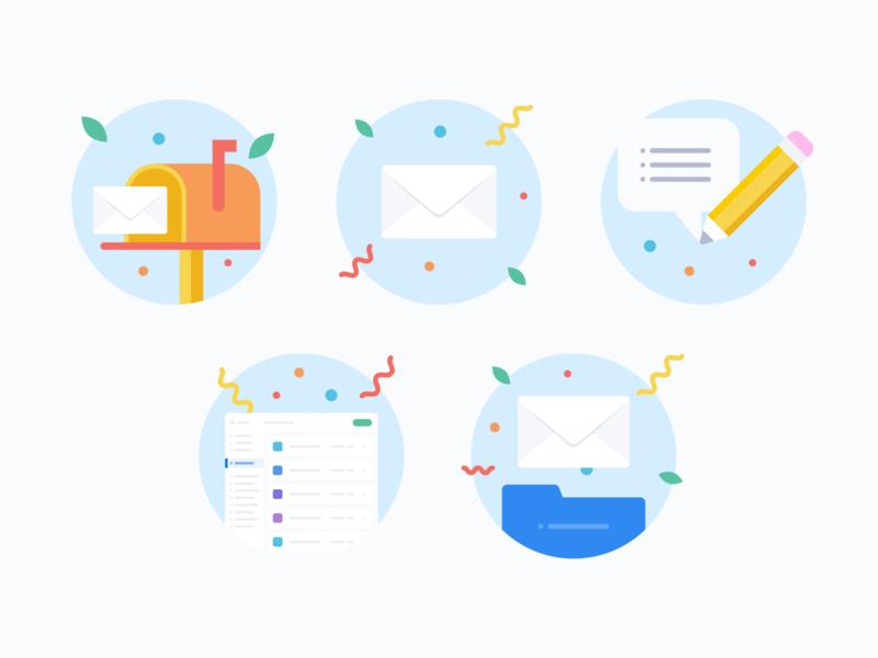 Blank slates illustrations vector illustration flat confetti feedback app folder pencil email mailbox icons