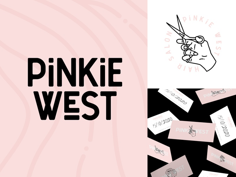 Pinkie West Salon Branding identity pinkie west salon hairstyle sam clarke design hair salon hair design branding navigation logo