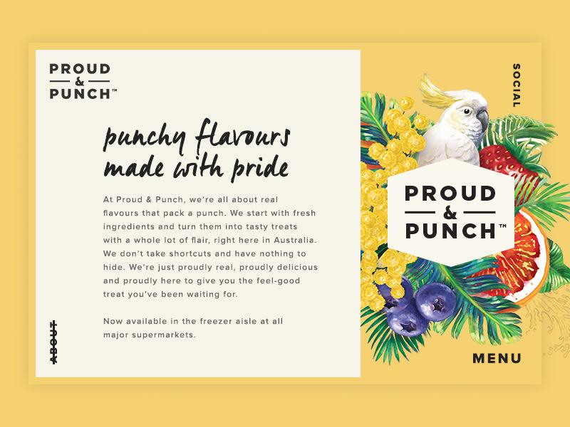 Proud Punch About Page web ui navigation illustration digital design