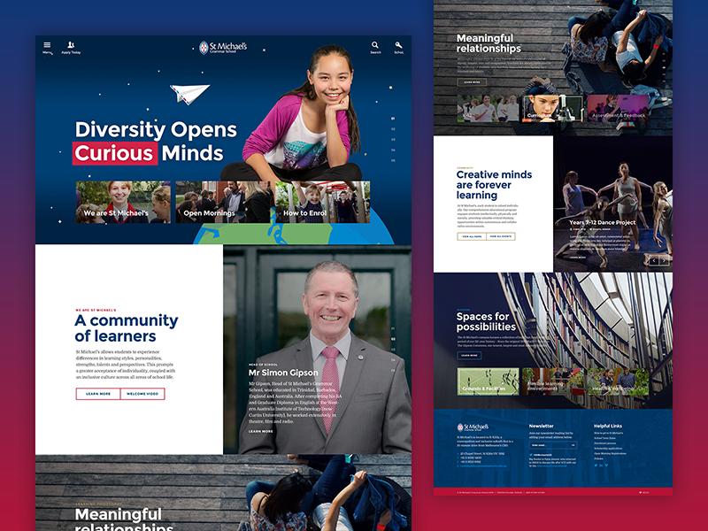 St Michael's Grammar School Website blocks grid curious design web school