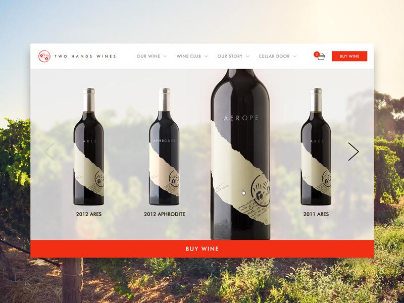 Two Hands Wines Website products info ux wine shop navigation ui digital design web