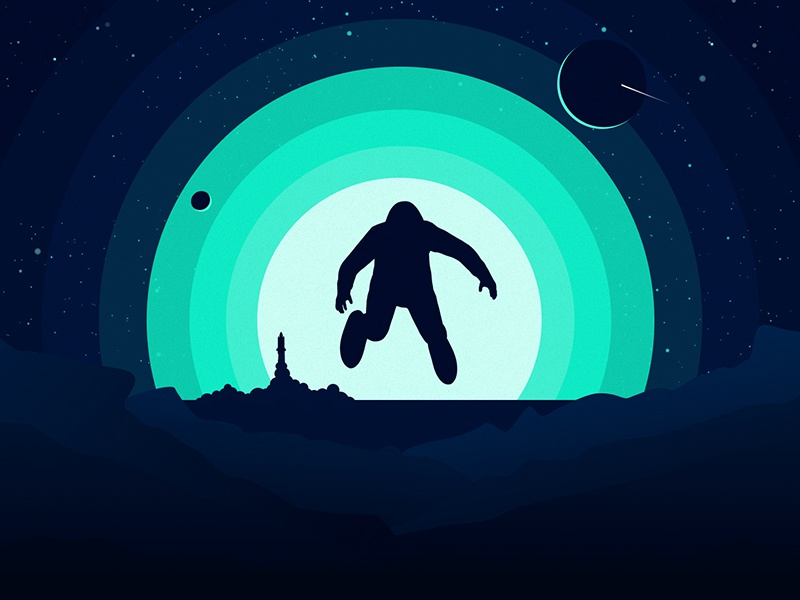 Space Silhouette illustrator silhouette astronaut moon planet rocket rock space