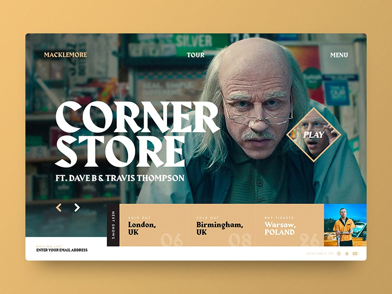 Macklemore Website Concept tour video music cornerstore macklemore web web design design ui digital