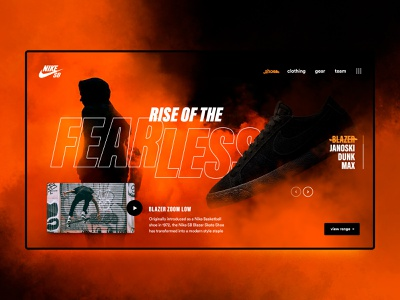 NikeSB Hero Concept samclarkedesign fearless nike sb skateboard shoes blazer skateboarding nike just make ui web digital design
