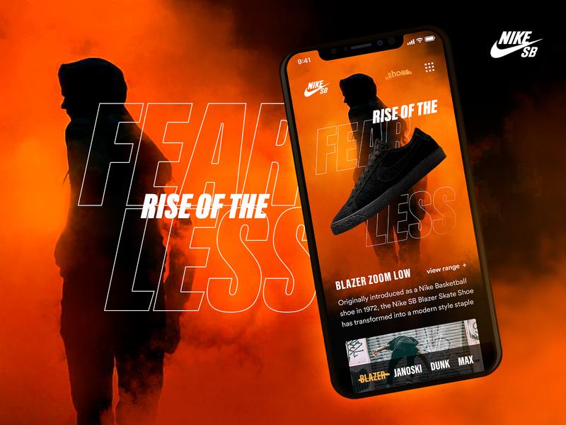 NikeSB Hero Mobile skateboarding just make just do it blazer ui mobile digital design nike sb nike fearless samclarkedesign