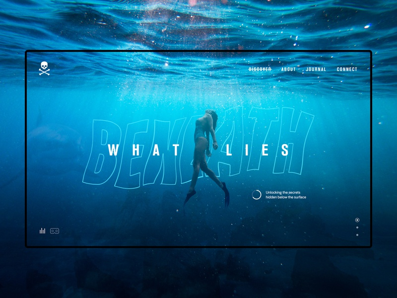 What Lies Beneath - Header Concept secrets discover vr adventure diving ocean creative sessions just make ui web digital design