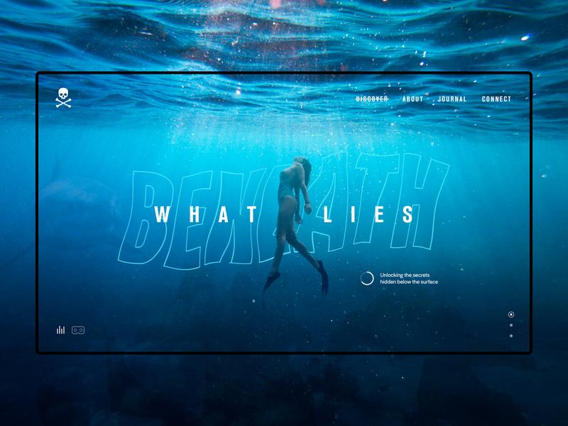 What Lies Beneath - Header Concept secrets discover vr adventure diving ocean creative sessions just make ui web digital design