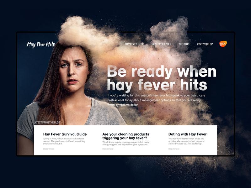 Hay Fever Help Website campaign website hay fever gsk kojo photography web ui digital design