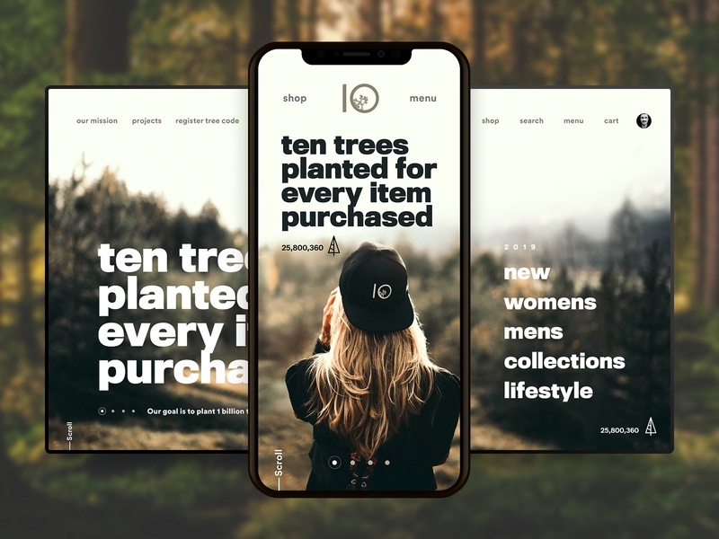 10 Trees Website Concept Mobile clothing sustainable ten tree ux experiment mobile web design navigation sam clarke design creative sessions just make web ui digital design