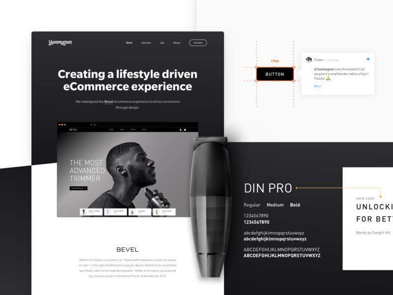 New portfolio item – Bevel handoff typography experience design dark mode visual design ui design ux design lifestyle ecommerce bevel ux ui website