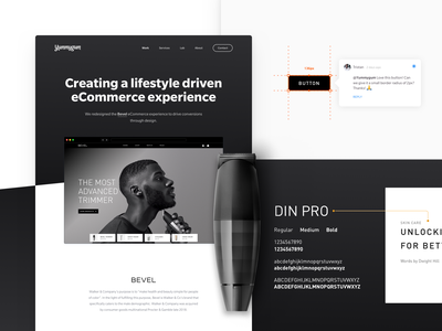 New portfolio item – Bevel handoff typography experience design dark mode visual design ui design ux design lifestyle ecommerce bevel ux ui website