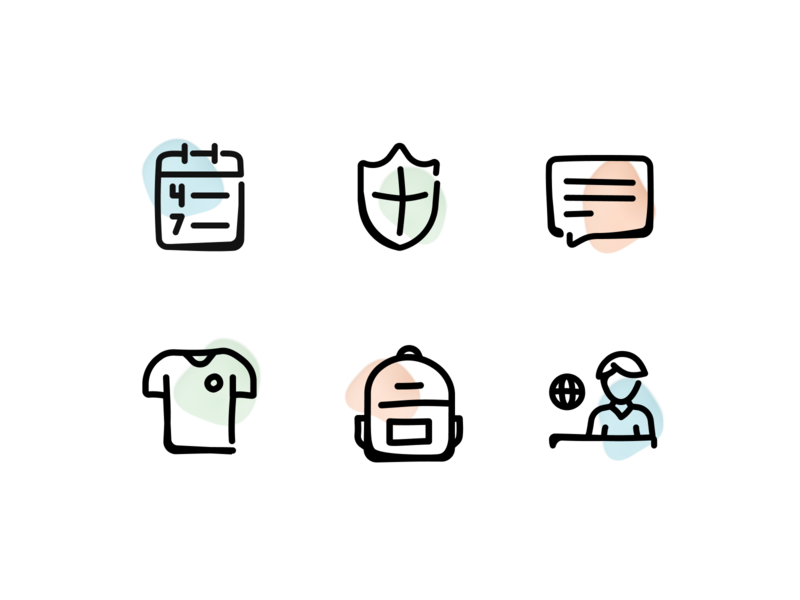 Icons for the dashboard of Gretel icon design design events chat me admin backpack team connect communication sketch pastel paint blob icon-set icons dashboard illustration
