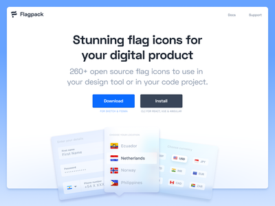 Homepage Header – Flagpack blur glass frosted desktop ui design ux design flags flagpack app header homepage design illustrations illustration icon ui website icons