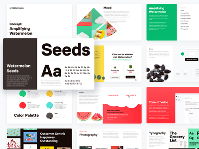 Brand Concept – Watermelon colors typography photography design branding styleboard style exploration slide deck slides mood board moodboard style concept style direction brand concept brand identity brand