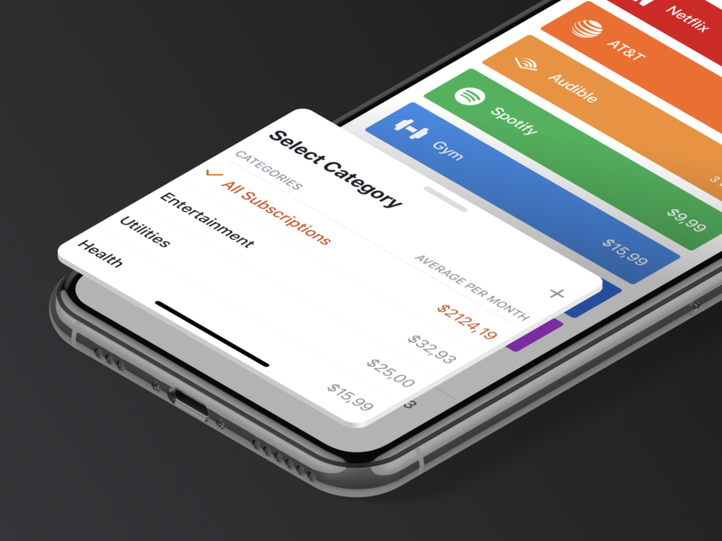Bobby V3.5 – Keep track of your subscriptions app ios subscription finance budget cards dashboard colors tracking money costs expenses mobile app subscriptions categories ui design
