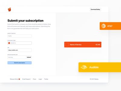 Bobby Submit minimal clean webapp web app form subscriptions subscription finance bobby submit ios