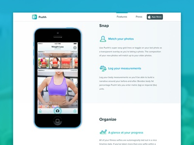 Pushh Website pushh website transformation before-and-after progress selfie fitness one page