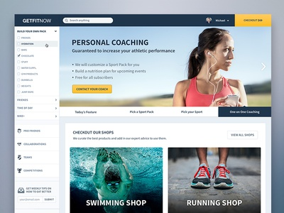 Shop Homepage ecommerce e-commerce training coaching webshop sidebar fit fitness shop blue yellow