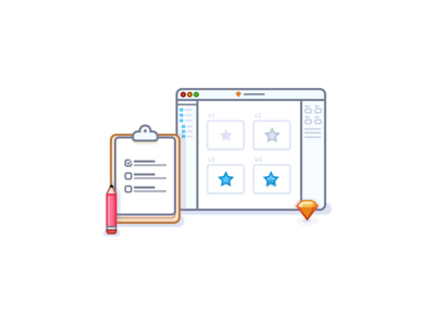 Iteration and management icon iteration iterate list to-do checkmark pencil clipboard sketchapp sketch illustration icons icon