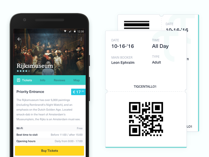 Tiqets Android app qr code qr barcode museum token mobile app tickets ticket tiqets android