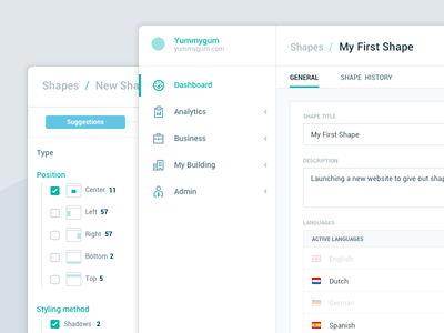 Builder UI icon web app webapp styling alignment language sidebar steps builder