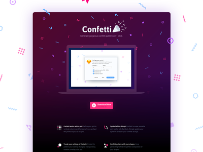 Confetti website icons confetti plugin sketch sketch plugin pattern webpage website