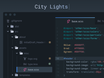 City Lights UI Theme dark interface dark ui sublime php js javascript editor development dev code sublime text atom