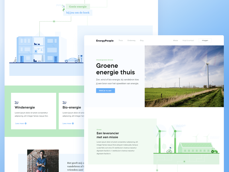 Green Energy website wind windmill header webpage electricity homepage illustrations cards green energy website