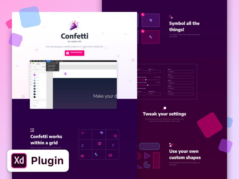 Confetti for Adobe XD - Landing Page landing homepage website party purple pink adobe xd adobexd plugin confetti