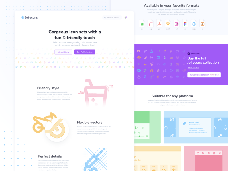 Jollycons landing page e commerce ecommerce header website jollycons outline glyphs icons icon sets icon set